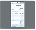 "Picture of 4-1/4"" x 8-1/2"" 3-Part Carbon Snap Set Invoice with Claim Check"