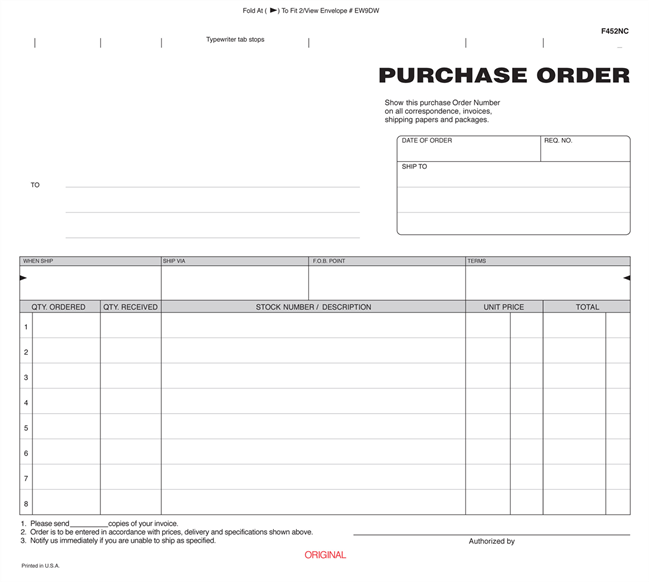 copy of purchase order form