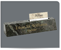 "Picture of 2-1/4"" x 8"" Green Marble Desk Bar with Business Card Slot"